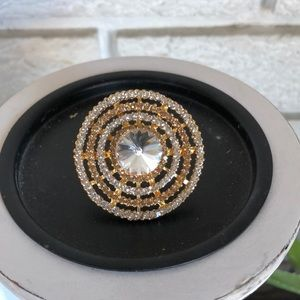 Goldtone statement cocktail ring